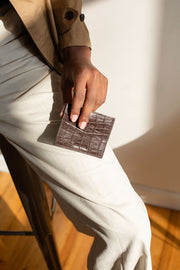 Not Just A Card Wallet Black Croc - HYER GOODS- sustainable leather - designed by Dana Cohen in Brooklyn New York