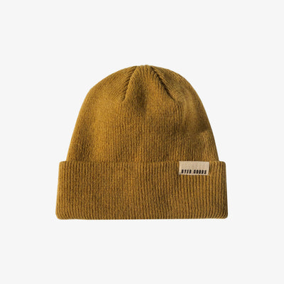 A BETTER BEANIE- MUSTARD,Beanie - HYER GOODS- recycled leather sustainable fashion accessory perfect for the zero waste lifestyle