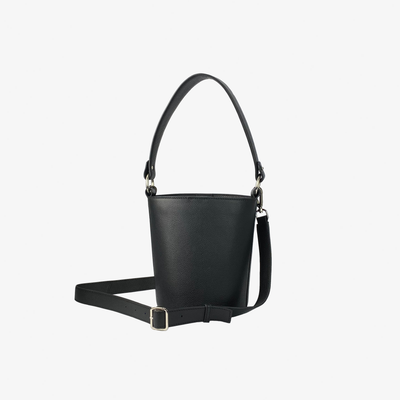 Mini Bucket Bag Black,Bucket Bag - HYER GOODS- recycled leather sustainable fashion accessory perfect for the zero waste lifestyle