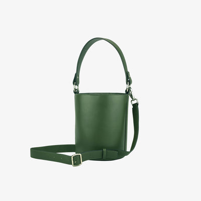 Mini Bucket Bag Green,Bucket Bag - HYER GOODS- recycled leather sustainable fashion accessory perfect for the zero waste lifestyle