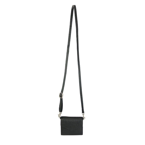 Mini Convertible Crossbody Black Croc - HYER GOODS- sustainable leather - designed by Dana Cohen in Brooklyn New York