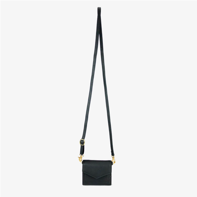 Mini Convertible Crossbody Black/Gold,Mini Convertible X Body - HYER GOODS- recycled leather sustainable fashion accessory perfect for the zero waste lifestyle