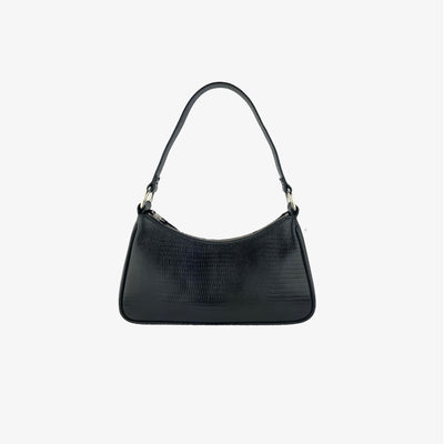 MINI SHOULDER BAG BLACK LIZARD - HYER GOODS- sustainable leather - designed by Dana Cohen in Brooklyn New York