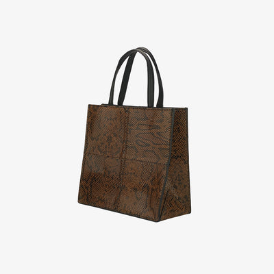 Mini Paperbag Tote Amber Python - HYER GOODS- sustainable leather - designed by Dana Cohen in Brooklyn New York