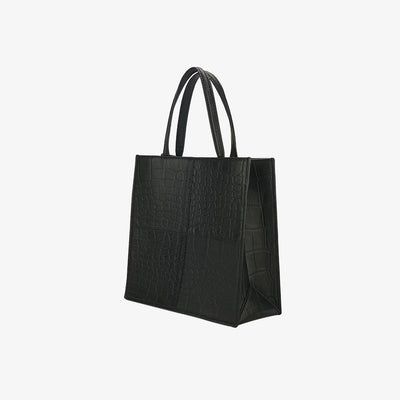 Mini Paperbag Tote Black Croc,Tote Bag - HYER GOODS- recycled leather sustainable fashion accessory perfect for the zero waste lifestyle