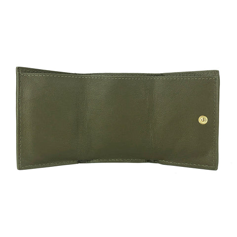 Mini Trifold Wallet Olive - HYER GOODS- sustainable leather - designed by Dana Cohen in Brooklyn New York
