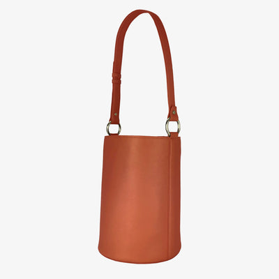Bucket Bag New Orange,Bucket Bag - HYER GOODS- recycled leather sustainable fashion accessory perfect for the zero waste lifestyle
