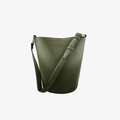 Bucket Bag Olive - HYER GOODS- sustainable leather - designed by Dana Cohen in Brooklyn New York