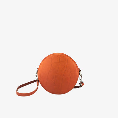 Circle Bag Orange Croc - HYER GOODS- sustainable leather - designed by Dana Cohen in Brooklyn New York