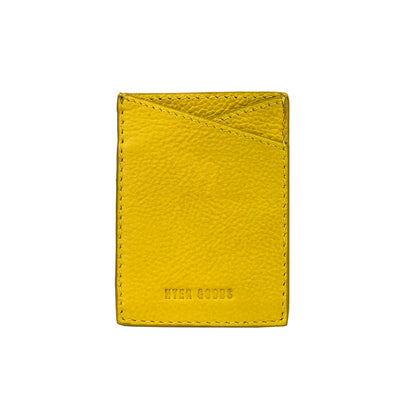 Leather Sticker Phone Wallet Yellow - HYER GOODS- sustainable leather - designed by Dana Cohen in Brooklyn New York