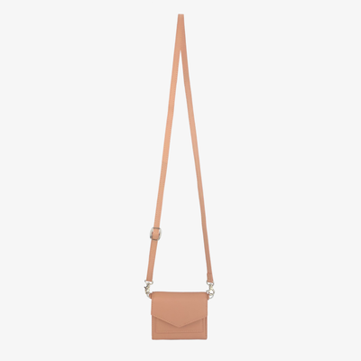 Mini Convertible Crossbody Dusty Rose,Mini Convertible X Body - HYER GOODS- recycled leather sustainable fashion accessory perfect for the zero waste lifestyle