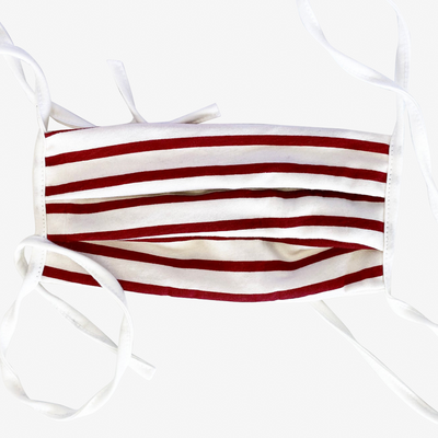 BUY 1 GIVE 1 MASK- RED STRIPED JERSEY - HYER GOODS- sustainable leather - designed by Dana Cohen in Brooklyn New York