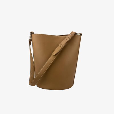 Bucket Bag Tan - HYER GOODS- sustainable leather - designed by Dana Cohen in Brooklyn New York