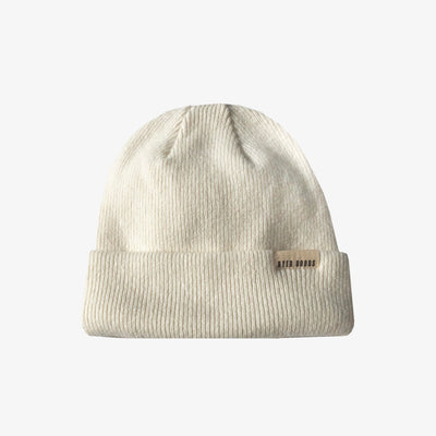 A BETTER BEANIE- WINTER WHITE,Beanie - HYER GOODS- recycled leather sustainable fashion accessory perfect for the zero waste lifestyle