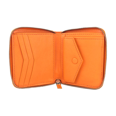 Zip Wallet Orange - HYER GOODS- sustainable leather - designed by Dana Cohen in Brooklyn New York