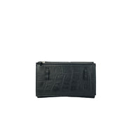 4-in-1 Envelope Convertible Purse Black Croc - HYER GOODS- sustainable leather - designed by Dana Cohen in Brooklyn New York