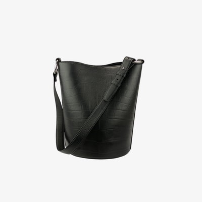 Bucket Bag Black Croc - HYER GOODS- sustainable leather - designed by Dana Cohen in Brooklyn New York