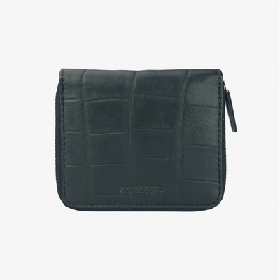 Zip Wallet Black Croc - HYER GOODS- sustainable leather - designed by Dana Cohen in Brooklyn New York