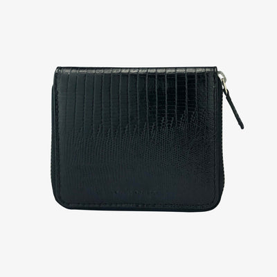 Zip Wallet Black Lizard - HYER GOODS- sustainable leather - designed by Dana Cohen in Brooklyn New York
