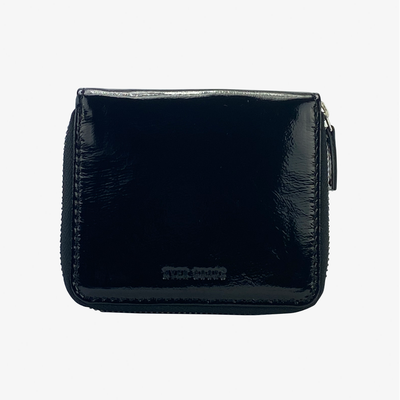 Zip Wallet Black Patent - HYER GOODS- sustainable leather - designed by Dana Cohen in Brooklyn New York