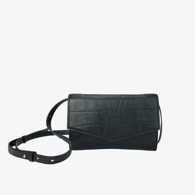 4-in-1 Envelope Convertible Crossbody Purse Black Croc,Convertible Purse - HYER GOODS- recycled leather sustainable fashion accessory perfect for the zero waste lifestyle