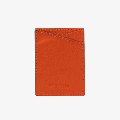 Leather Sticker Phone Wallet Dark Orange - HYER GOODS- sustainable leather - designed by Dana Cohen in Brooklyn New York