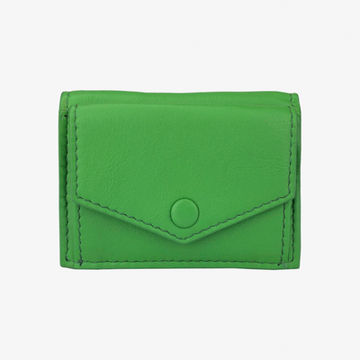 Mini Trifold Wallet Green - HYER GOODS- sustainable leather - designed by Dana Cohen in Brooklyn New York