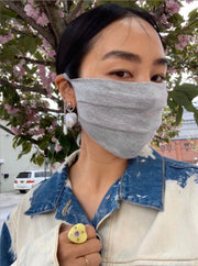 BUY 1 GIVE 1 MASK- GREY JERSEY - HYER GOODS- sustainable leather - designed by Dana Cohen in Brooklyn New York