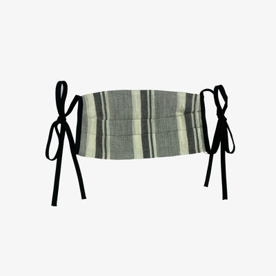 BUY 1 GIVE 1 MASK- GREY STRIPE - HYER GOODS- sustainable leather - designed by Dana Cohen in Brooklyn New York