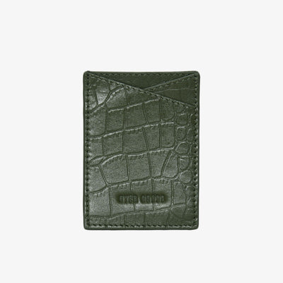 Leather Sticker Phone Wallet Olive Croc - HYER GOODS