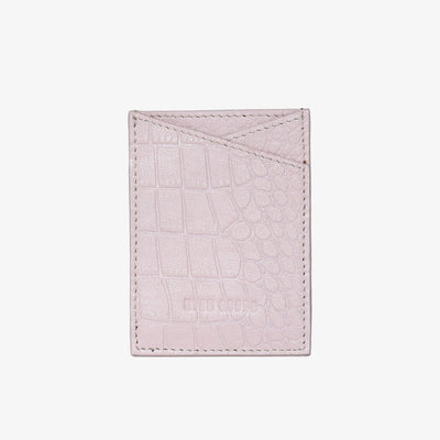 Leather Sticker Phone Wallet Light Pink Croc - HYER GOODS