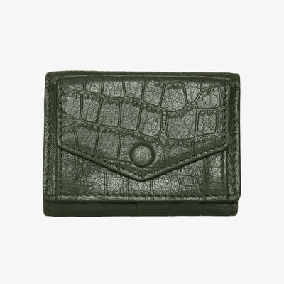 Mini Trifold Wallet Olive Croc - HYER GOODS