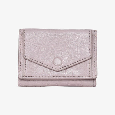 Mini Trifold Wallet Light Pink Croc - HYER GOODS