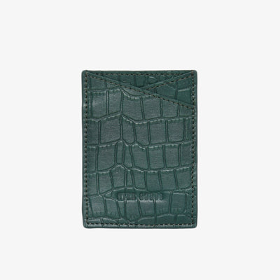 Leather Sticker Phone Wallet Green Croc - HYER GOODS