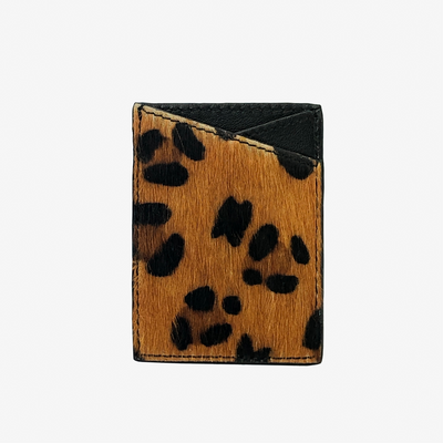 Leather Sticker Phone Wallet Leopard Hair Calf - HYER GOODS- sustainable leather - designed by Dana Cohen in Brooklyn New York