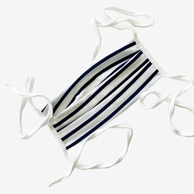 BUY 1 GIVE 1 MASK- NAVY STRIPED JERSEY,Mask - HYER GOODS- recycled leather sustainable fashion accessory perfect for the zero waste lifestyle