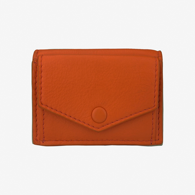 Mini Trifold Wallet Orange - HYER GOODS- sustainable leather - designed by Dana Cohen in Brooklyn New York