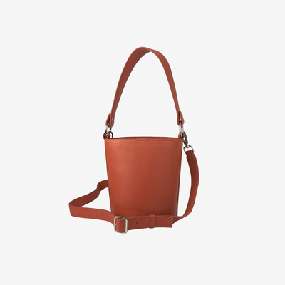 Mini Bucket Bag New Orange - HYER GOODS- sustainable leather - designed by Dana Cohen in Brooklyn New York