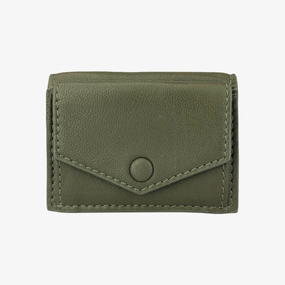 Mini Trifold Wallet Olive,Mini Trifold Wallet - HYER GOODS- recycled leather sustainable fashion accessory perfect for the zero waste lifestyle