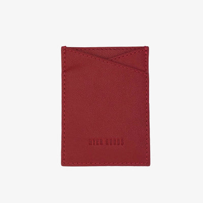 Leather Sticker Phone Wallet Classic Red,Phone Card Wallet - HYER GOODS- recycled leather sustainable fashion accessory perfect for the zero waste lifestyle