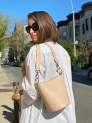 Mini Bucket Bag Palest Pink Croc - HYER GOODS- sustainable leather - designed by Dana Cohen in Brooklyn New York