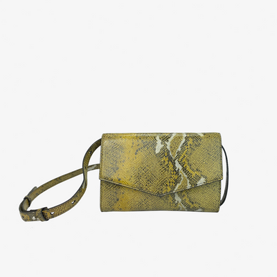 4-in-1 Envelope Convertible Crossbody Purse Yellow Python,Convertible Purse - HYER GOODS- recycled leather sustainable fashion accessory perfect for the zero waste lifestyle