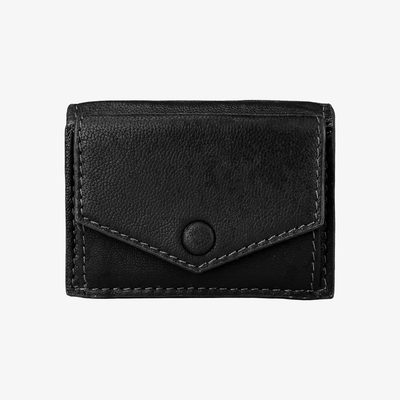 Mini Trifold Wallet Black - HYER GOODS- sustainable leather - designed by Dana Cohen in Brooklyn New York
