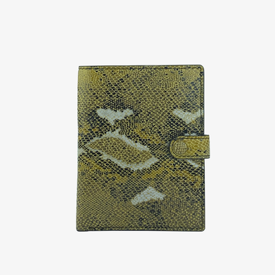 Not Just a Traveler's Wallet Yellow Python - HYER GOODS- sustainable leather - designed by Dana Cohen in Brooklyn New York