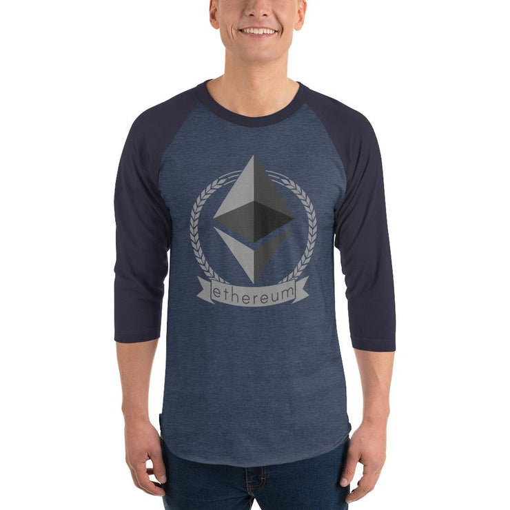 Ethereum Cryptocurrency 3/4 sleeve raglan shirt