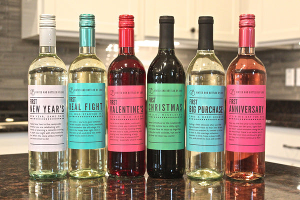 Set of 6 Wine Bottle Labels for Wedding Gift, Wedding Firsts, Perfect Bridal Shower, Engagement Party, Bachelorette Party, or Wedding Gift