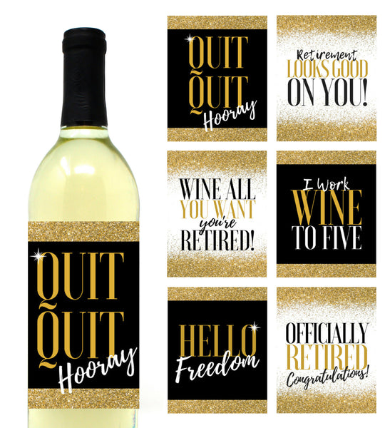 6 Premium Retirement Party Gift Wine Bottle Labels or Stickers, Officially Retired Teacher, Nurse, Coworker, Boss, Friend, Mom, Dad