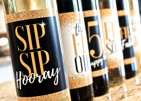 6 Premium 50th Birthday Wine Bottle Labels or Stickers Present, Funny Black & Gold Party Decorations Supplies For Friend, Wife, Girl, Mom