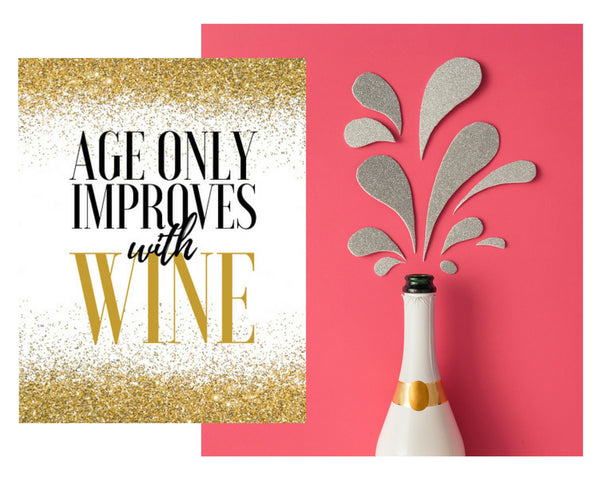 6 Premium 90th Birthday Wine Bottle Labels or Stickers Present, Funny Black & Gold Party Decorations Supplies For Friend, Wife, Girl, Mom
