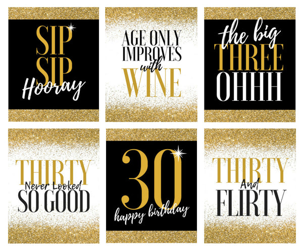6 30th Birthday Wine Bottle Labels, Dirty Thirsty Flirty Thirty Gifts For Women, Cheers to 30 Years, Funny Black Gold Party Decorations